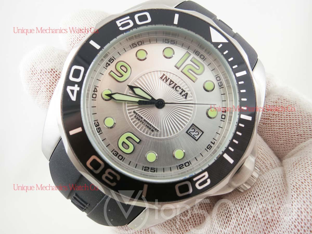 Invicta Pro Diver 0424 Rubber Strap Stainless Steel Watch