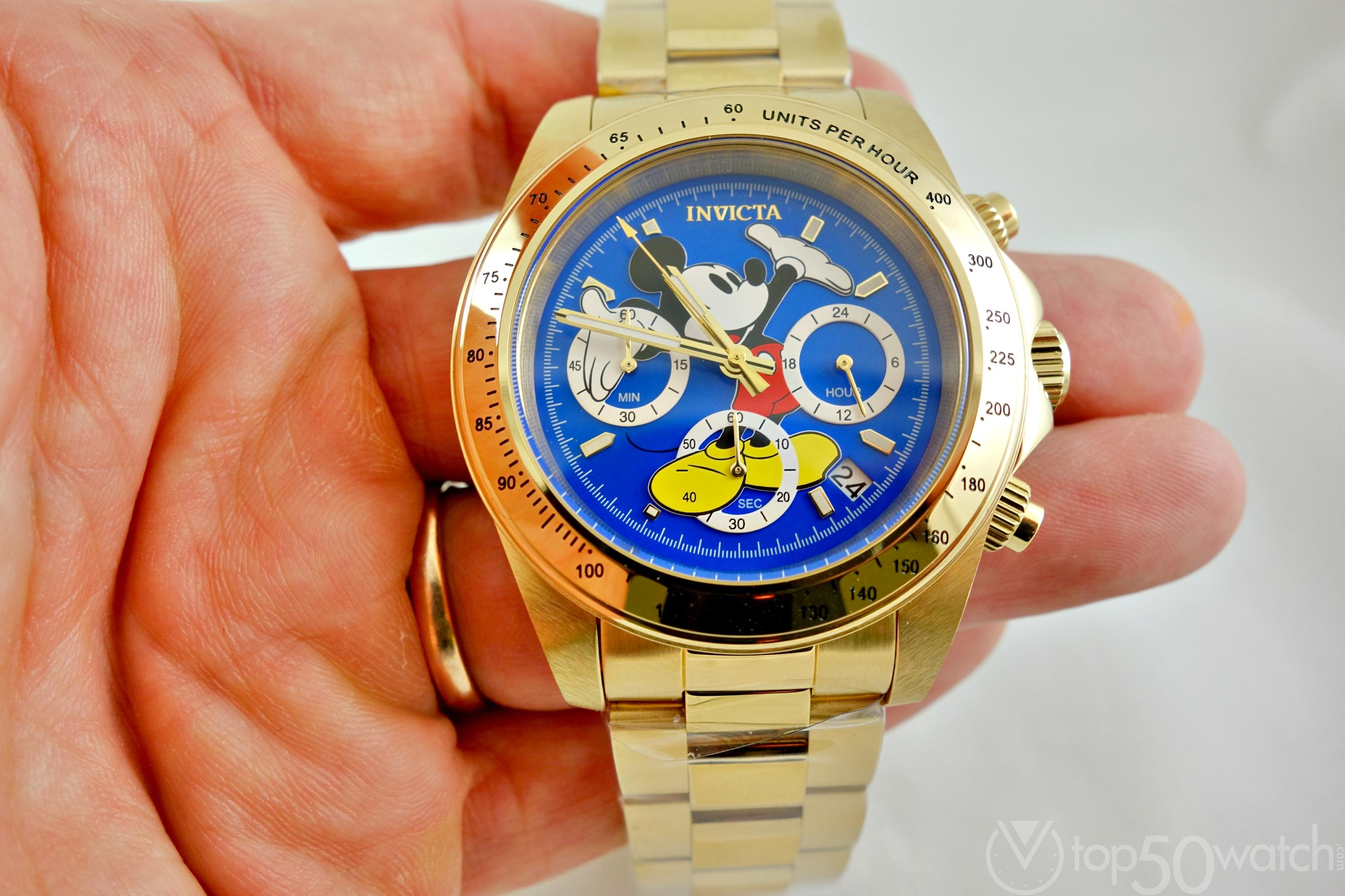 Invicta Disney Mickey Mouse Character Gold Plated Wrist Watch